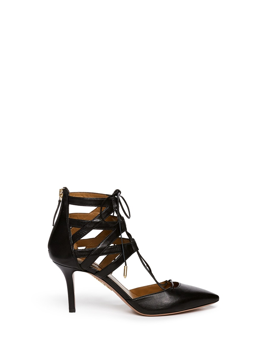 Belgravia caged leather pumps by Aquazzura