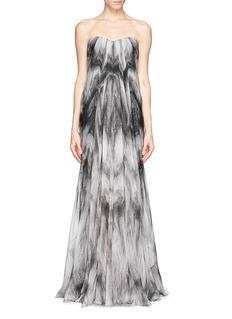 ALEXANDER MCQUEENFox fur print chiffon gown