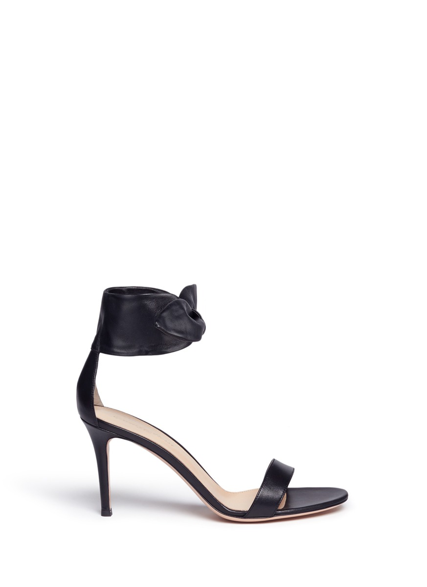 Ankle bow tie leather sandals by Gianvito Rossi