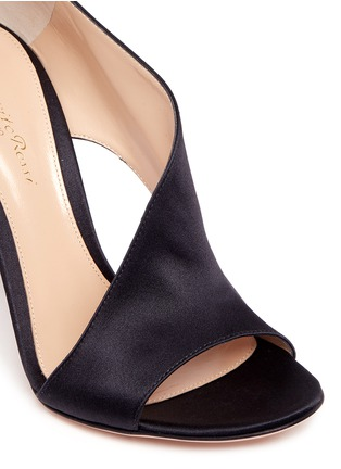 Detail View - Click To Enlarge - Gianvito Rossi - 'Demi' arched satin bootie sandals