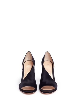 Front View - Click To Enlarge - Gianvito Rossi - 'Demi' arched satin bootie sandals