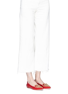 Isa Tapia 'Clement2' heart embroidered leather skimmer flats