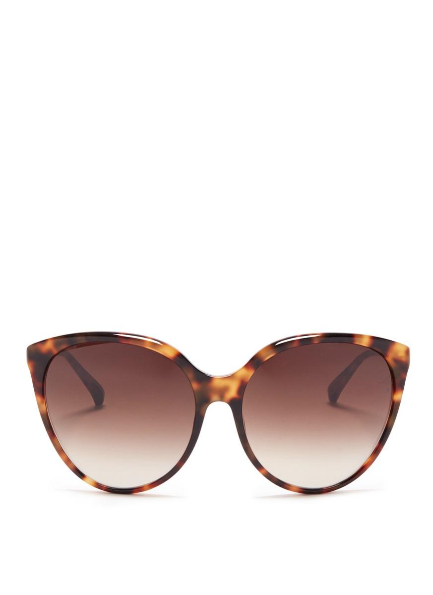 Oversized tortoiseshell cat eye sunglasses by Linda Farrow
