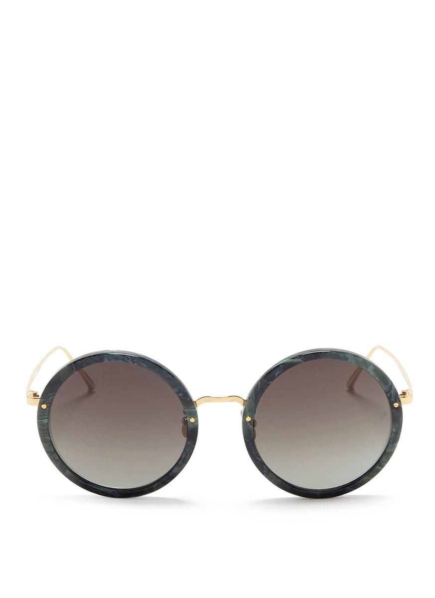 Metal temple acetate round sunglasses by Linda Farrow