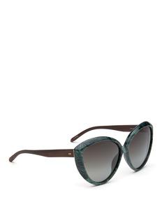 Linda FarrowEbony wood temple marbled acetate cat eye sunglasses