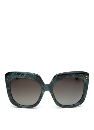 Main View - Click To Enlarge - Linda Farrow - Ebony wood temple marbled acetate square sunglasses