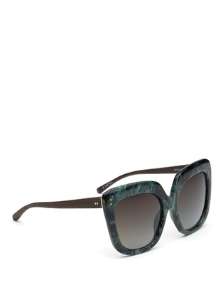 Figure View - Click To Enlarge - Linda Farrow - Ebony wood temple marbled acetate square sunglasses