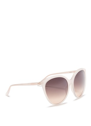 Figure View - Click To Enlarge - LINDA FARROW VINTAGE - Oversized acetate round cat eye sunglasses