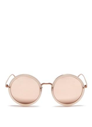 Main View - Click To Enlarge - Linda Farrow - Metal bridge acetate mirror sunglasses