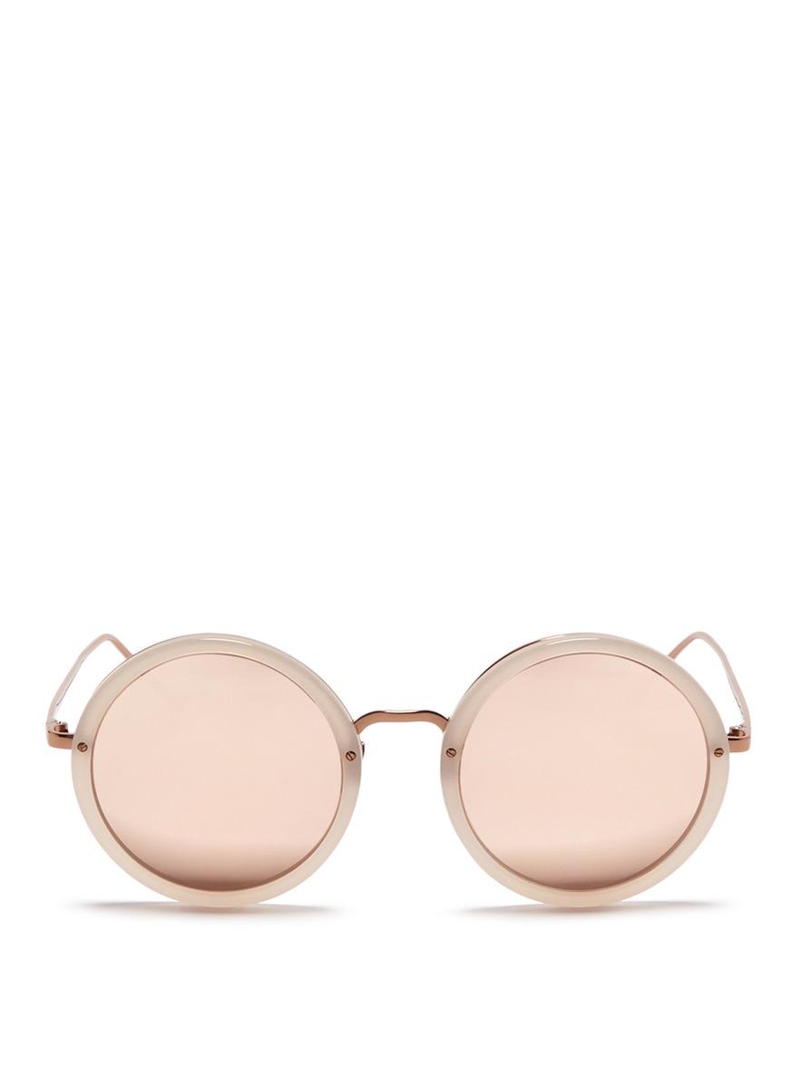 Metal bridge acetate mirror sunglasses by Linda Farrow
