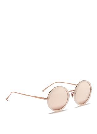 Figure View - Click To Enlarge - Linda Farrow - Metal bridge acetate mirror sunglasses