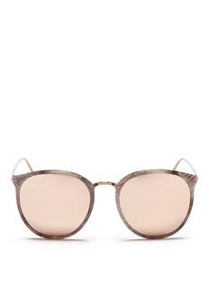 LINDA FARROW大理石纹圆框太阳眼镜