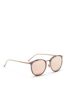 Linda FarrowMetal temple acetate round mirror sunglasses