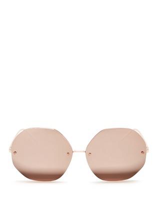 Main View - Click To Enlarge - LINDA FARROW VINTAGE - Metal octagonal mirror sunglasses