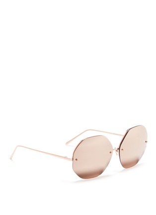 Figure View - Click To Enlarge - LINDA FARROW VINTAGE - Metal octagonal mirror sunglasses