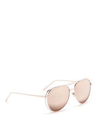 Figure View - Click To Enlarge - Linda Farrow - Open wire aviator sunglasses