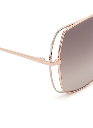 Detail View - Click To Enlarge - Linda Farrow - Open wire rim metal square sunglasses