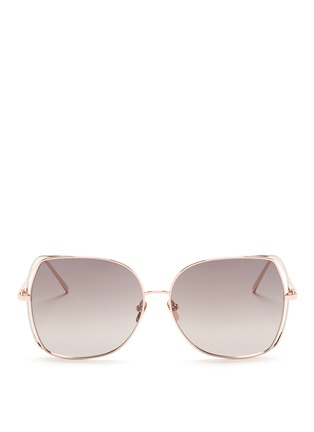 Main View - Click To Enlarge - Linda Farrow - Open wire rim metal square sunglasses
