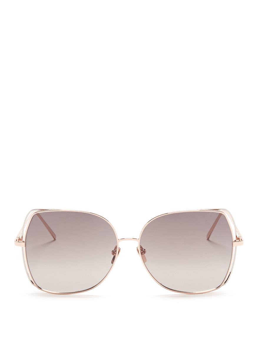 Open wire rim metal square sunglasses by Linda Farrow
