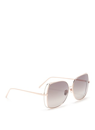 Figure View - Click To Enlarge - Linda Farrow - Open wire rim metal square sunglasses
