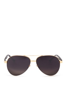 Linda FarrowAcetate temple titanium aviator sunglasses