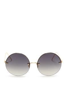 LINDA FARROW钛金属半框圆形太阳眼镜