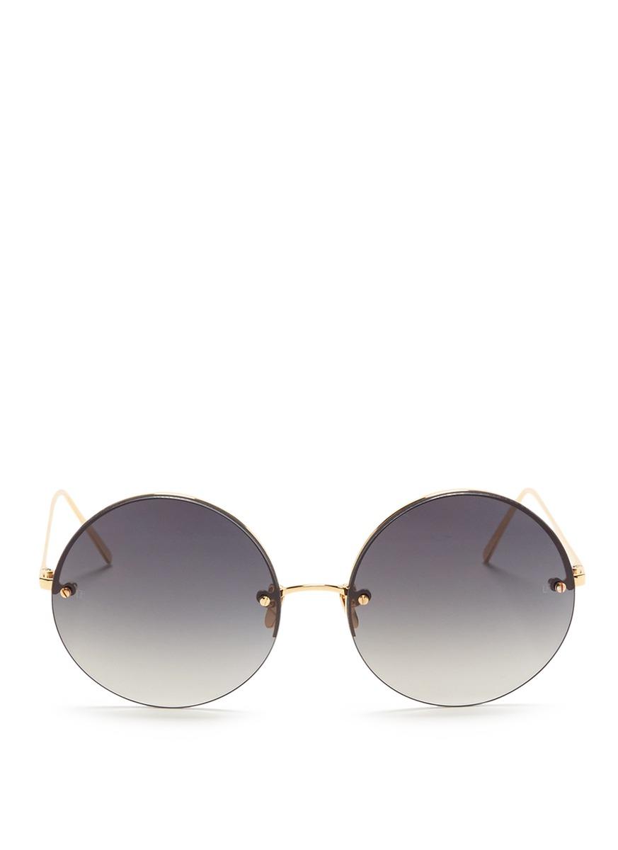Top rim metal round sunglasses by Linda Farrow