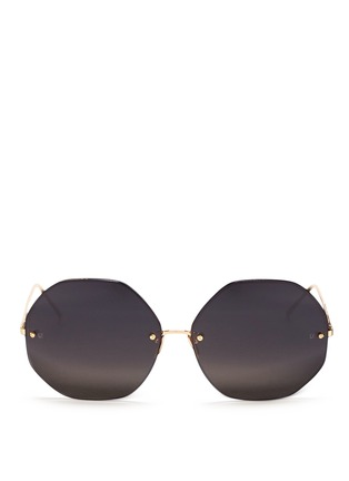 Main View - Click To Enlarge - Linda Farrow - Metal octagonal sunglasses
