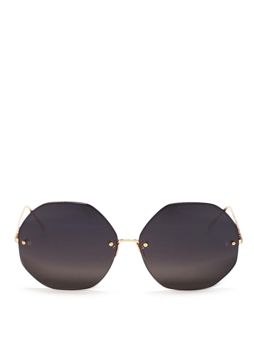 Metal octagonal sunglasses by Linda Farrow