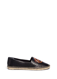 Tory Burch 'Daley' ethnic logo stitched leather espadrilles