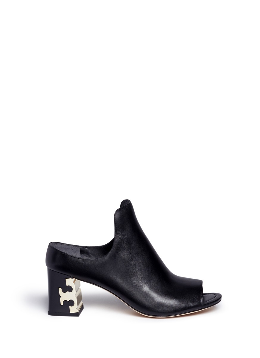 Finley logo plaque heel leather mules by Tory Burch
