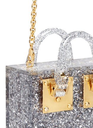 Detail View - Click To Enlarge - Sophie Hulme - 'Compton' inset glitter Perspex crossbody bag
