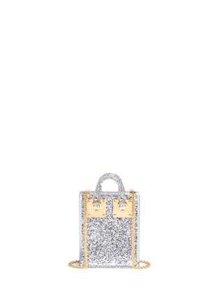 Back View - Click To Enlarge - Sophie Hulme - 'Compton' inset glitter Perspex crossbody bag