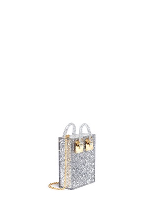 Front View - Click To Enlarge - Sophie Hulme - 'Compton' inset glitter Perspex crossbody bag