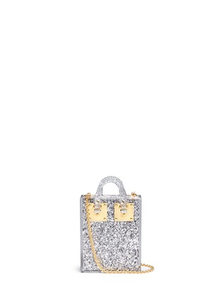 Main View - Click To Enlarge - Sophie Hulme - 'Compton' inset glitter Perspex crossbody bag