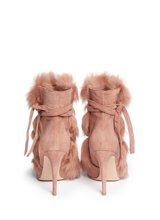 Back View - Click To Enlarge - Gianvito Rossi - 'Moritz' fur crisscross tie suede boots