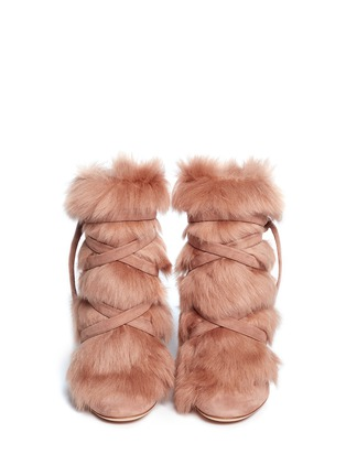 Front View - Click To Enlarge - Gianvito Rossi - 'Moritz' fur crisscross tie suede boots