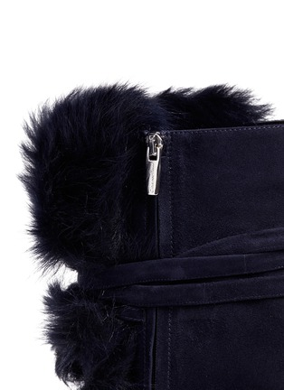 Detail View - Click To Enlarge - Gianvito Rossi - 'Moritz' fur crisscross tie suede knee high boots