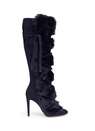 Main View - Click To Enlarge - Gianvito Rossi - 'Moritz' fur crisscross tie suede knee high boots