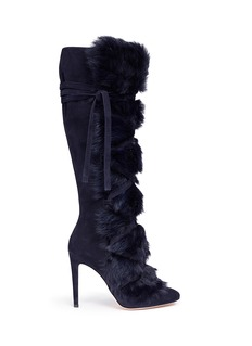 Gianvito Rossi 'Moritz' fur crisscross tie suede knee high boots