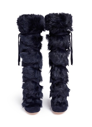 Figure View - Click To Enlarge - Gianvito Rossi - 'Moritz' fur crisscross tie suede knee high boots