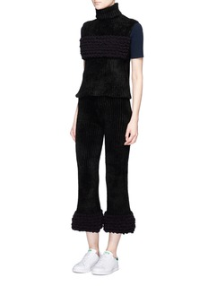 Xiao Li'Lusso' knotted rib knit flared pants