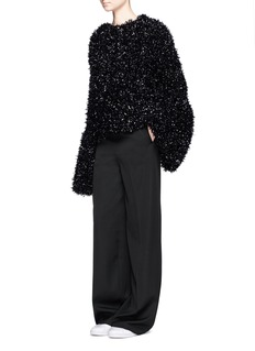 Xiao Li Bell cuff tinsel knit sweater