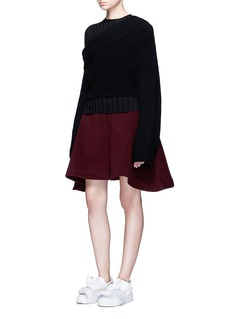 Xiao LiFly back felted wool blend shorts