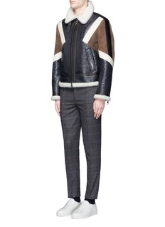 Neil Barrett Colourblock shearling Harrington jacket