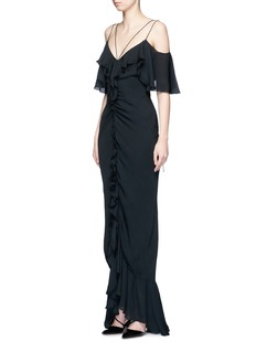 Emilio Pucci Ruffle silk georgette cold shoulder gown