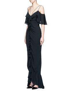 Emilio PucciRuffle silk georgette cold shoulder gown