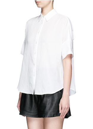 Front View - Click To Enlarge - rag & bone/JEAN - Tie front dobby stripe cotton shirt