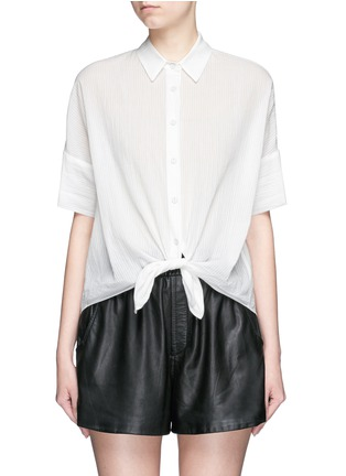 Main View - Click To Enlarge - rag & bone/JEAN - Tie front dobby stripe cotton shirt