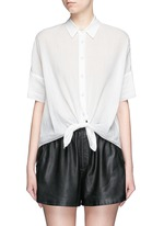 Tie front dobby stripe cotton shirt